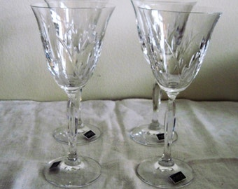 4 Vintage Mikasa Crystal Wines Dune Grass Pattern Made In Germany Circa 1983 Never Used