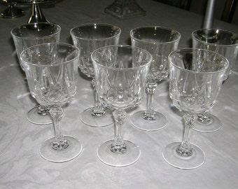 6 Vintage Cristal D'Arques Durand Wine Goblets AUTEUIL Pattern