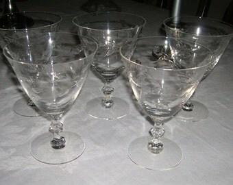 5 Vintage Mid Century Crystal Water Goblets Cut Leaf & Stem Design Circa 1950's