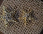 Joan Rivers Rhinestone Gold Tone Layered Star Brooches