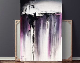 Purple Painting, Large Abstract Painting, Canvas Painting, Abstract Canvas Art, Original Painting, 36x24 Heather Day Paintings on Etsy