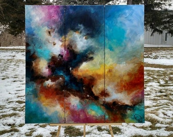 Original Abstract Painting, Huge Painting, Multicolored Painting on Canvas, Textured Wall Art, Square Triptych Canvas, 36x36 By Heather Day