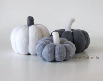 3 Ghost Needle Felt Pumpkins Wool Thanksgiving Decor Art Fall Autumn