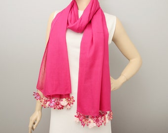 Long scarf ,Turkish oya scarf ,Hand crocheted ,gift idea ,summer scarf, violet