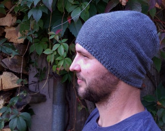 Mens Slouchy Beanie, Slouchy Beanie, Knitted Hat, Hand Knit Hat, Slouchy Hat, Mens Hats, Unisex Beanie, Gray, Light Gray, Black Color