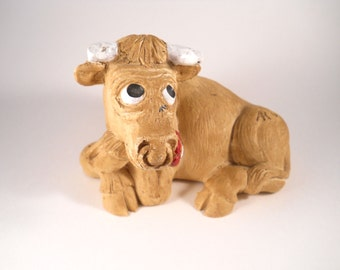 Hand made Brown Cow Sitting