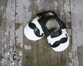 WOW! Mustache  100% genuine leather baby moccasins Mocs moccs top quality, first birthday,