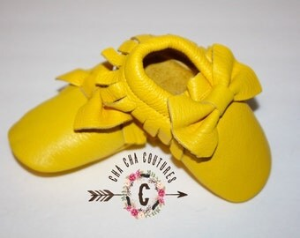 WOW!  Sunshine BOWS Moccasins 100% genuine leather baby moccasins Mocs moccs
