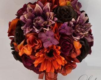 17 Piece Package Silk Flowers Wedding Bridal Bouquet Bride Bouquet PLUM MAUVE Fall Orange BROWN Burgundy Copper Lily of Angeles ORBR07