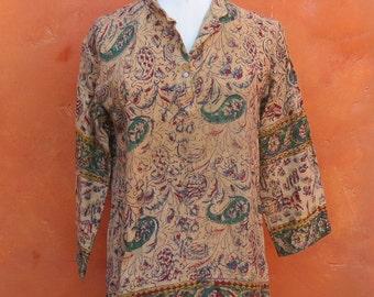 SALE Vintage 1970s Indian India Ethnic Cotton Tunic Top Shirt. Paisley Gypsy boho Bohemian Hippie Festival Coachella. Handwoven M/L