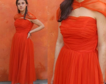 Vintage 1950s 1960s Orange Chiffon tulle Swing Dress. Party Cocktail Evening Prom. Dorothy Fox. Ruched bodice. shoulder shrug. full sweep
