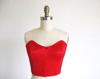 Valentine 1/2 Off Sale Vintage Red Corset Bra, 70s Lingerie, Small Long line Bra
