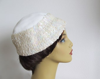 Vintage 50s White Hat, Sequin Hat, Dressy Ivory Hat, White Cloche