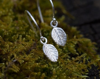 Sterling Silver Leaf Dangle Earrings, Summer Outdoors Gift for Women, Friend Gift, Botanical Earrings Handmade by Burnish