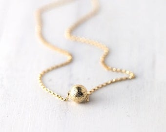 Minimalist Gold Sparkle Bead Necklace | 14K Gold Filled Necklace Gift