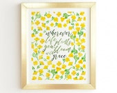 Bloom with Grace framed wall art, unique baby nursery decor baby shower gift, new apartment decor yellow green flowers watercolor home decor