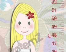 Girls Growth Chart in Canvas or Vinyl - Height Chart - Metric or Inches