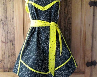 Black and Yellow Full Apron One Size - Vintage Style