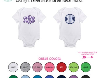 Monogram Embroidered Baby Onesie / Monogram or First Name