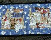 Nurses Quilted Table Runner, Medical Theme Table Runner