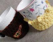 Brown or Yellow Mug Cozy: brown little guitar cozy, short yellow bobble cozy (choose 1)