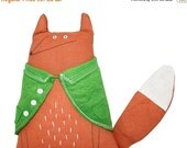 ON SALE 25% OFF Fox Soft Sculpture with Pea Green Coat, Hand-embroidered Orange Linen Fox Textile Art, Poosac