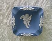 Wedgewood Jasperware,  Blue Wedgwood Jasperware Ashtray,  Blue Square Ash Tray, Collectible Jasperware, Home Decor, Gift for Mom