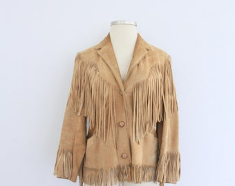 1970s Pioneer Wear Suede Fringe Coat Camel Tan Jacket Western Boho Chic Cowgirl Womens Vintage Large