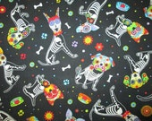 Dog Xray Dogs Day Of Dead Flowers Black Cotton Fabric Fat Quarters or Custom Listing