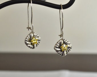 Lovely Handmade Yellow Star CZ Drop Earrings, PMC Fine Silver