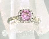 Pink Sapphire Engagement Ring Square Cushion White Gold Diamond Halo September Birthstone Weddings Anniversary Ring