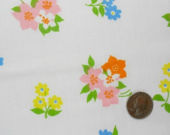 Spring Flowers in Pink, Blue and Yellow on Unused Vintage Sheet Fat Quarters