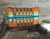 North by Northwest Fringed Clutch // Pendleton Wool and Acorn Brown Leather // Rosebud Originals