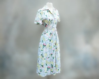 1950s vintage  summer cotton Lucy day dress - 50s rose pink pale yellow unique pockets full skirt dress - Medium