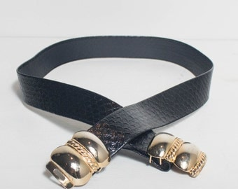 1980's Gay Boyer Black Leather Snake Print Belt with Gold Buckle