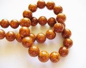 Fossil Beads Brown Round 10mm