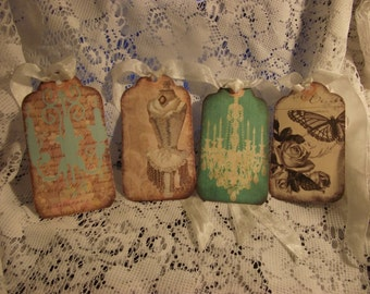 Shabby Chic Gift Tags For Scrap Booking  Party Favor  Packages   Hang Tags  Journal Tags  Thank You Tags