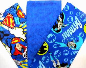Three Pack Bundle of Batman, Tie Dye and Superman Print Flannel Fat Quarters