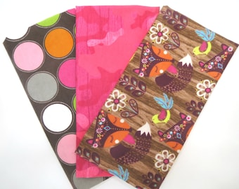3 Pack of Cotton Flannel Fat Quarters in Fox in the Woods, Bright Pink Camo  Large Dot Prints