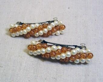 Vintage Amber Bead White Pearl Hair Barrette Pair