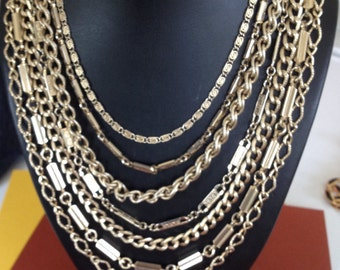 Signed Marino Seven Layered Decorative Chain Necklace