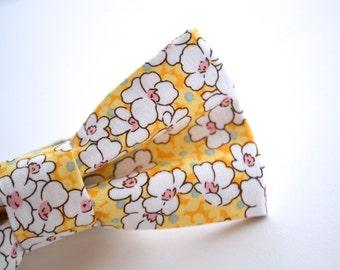 Bowtie, Yellow BoHo Floral, Groomsmen Bow Tie, Floral Bow Tie, Wedding Bow Tie