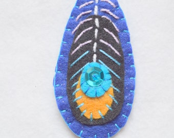 Embroidered felt peacock feather ornament