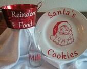 Santa's Cookies Plate Milk Glass & Reindeer Food Bucket 3 Piece Christmas Set