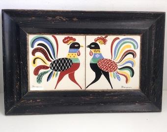 Vintage Berggren Chicken Rooster Framed Tile Pair Trivet TRAY.  Made in Sweden.  Mid century modern, Kitsch, Eames era.  Scandinavian.