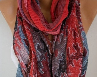 Red Knitted Scarf, Fall Winter Shawl, Shimmering Shirred Cowl,Oversize Shawl Cotton,Gift Ideas For Her Women Fashion Accessories Christmas
