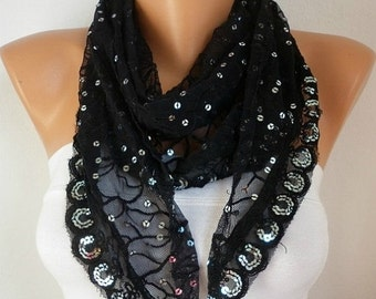 Black Lace Sequin  Scarf   Cowl Scarf  Bridesmaid Gifts Bridal Accessories Gift Ideas For Her Women's Fashion Accessories