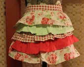 Half Apron, Reds with Hot Pink and light green, Fits all women icludig Plus size, Vintage material, Ruffles