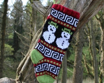 Small Knitted Christmas stocking with Snowmen Holiday Stocking Fair Isle Home Decor Xmas Sock ready to ship RGS