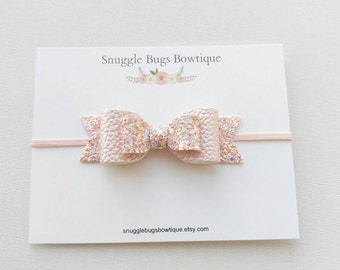 Large Double Layer Glitter and Faux Leather Bow Headband in Blush Confetti-Newborn Baby to Adult- Glitter Bow Headband or Hair clip 3.5 inch